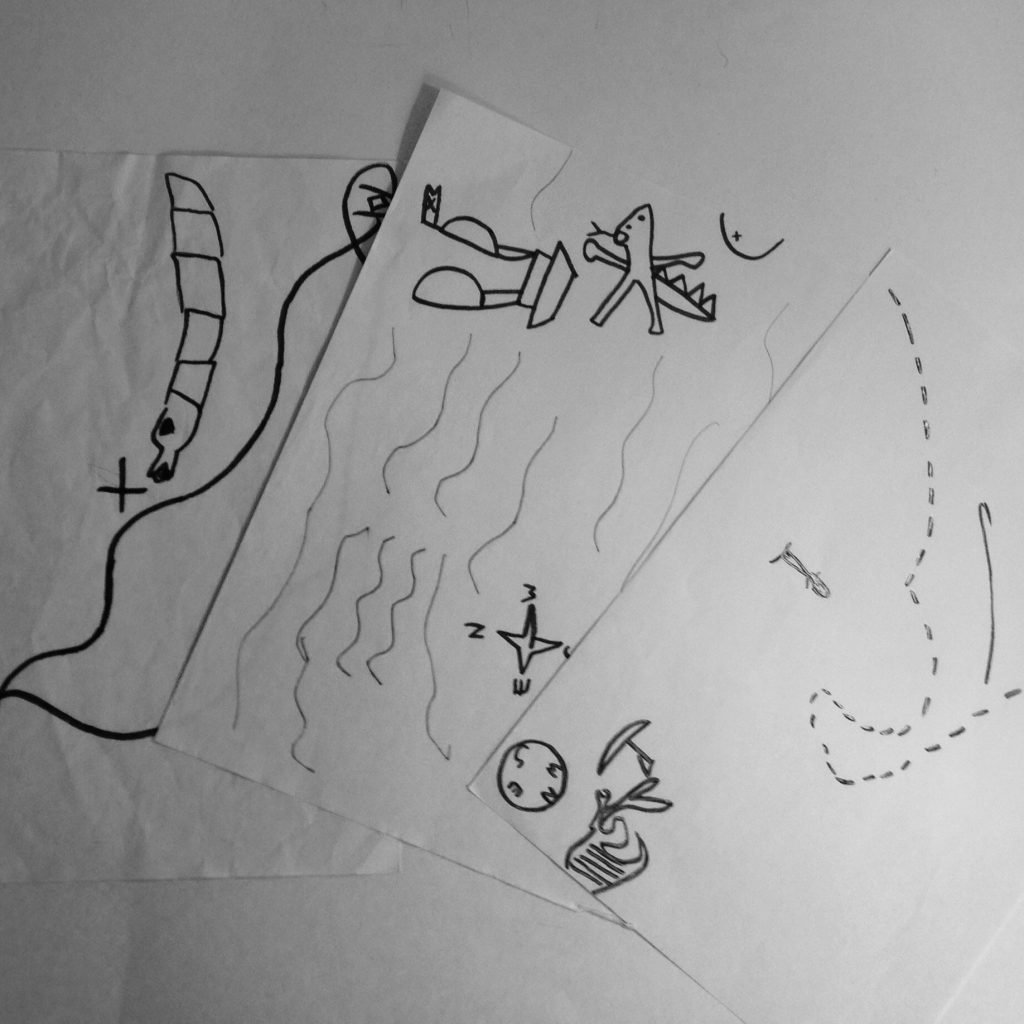 Have your children draw treasure maps (note that felt tipped pens will run).