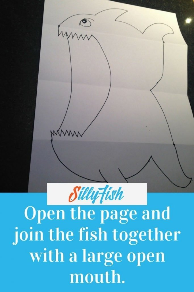 Open the panels up to create a flat A4 page. Joinf the two halves of your Ferocious Fish togehter with a large open mouth.