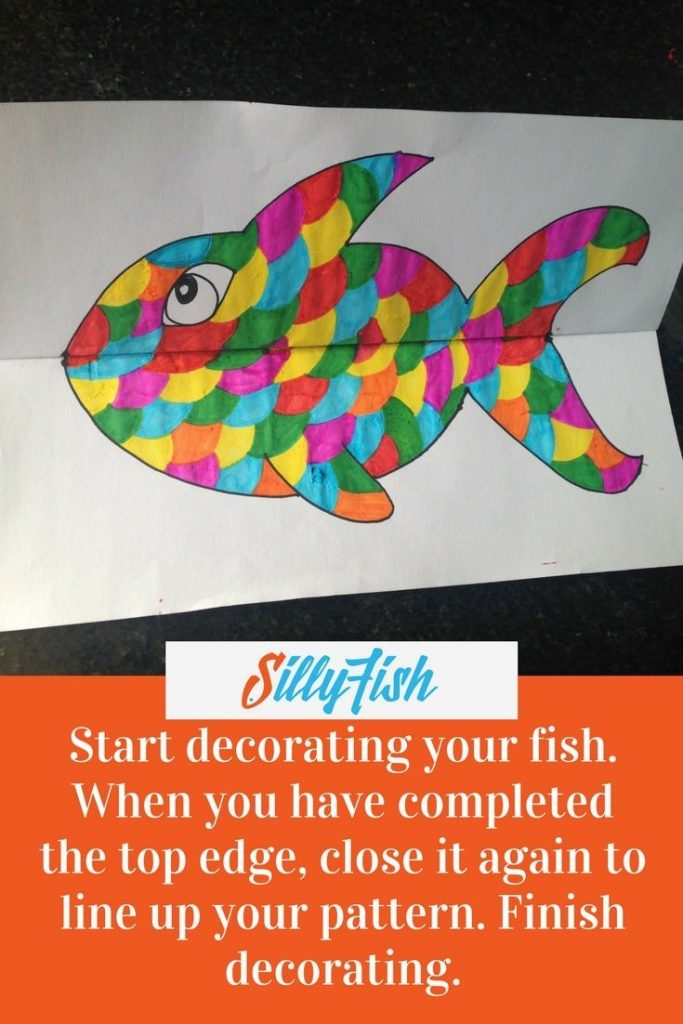 Once you've finished decorating one outside panel of your Ferocious Fish, close the page again and make your pattern line up.