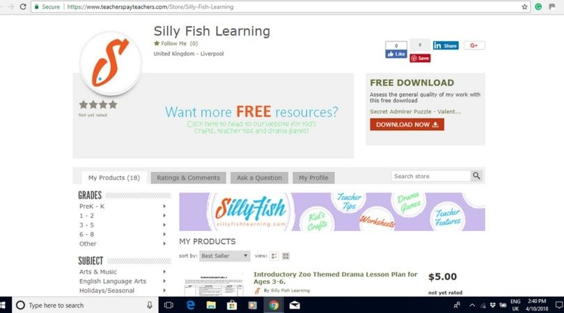 The Silly Fish Learning TpT Store with newly added banner image.