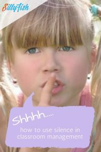 This young girl is encouraging silence by placing a finger to her lips. In this post we discuss how to use silence in classroom management.