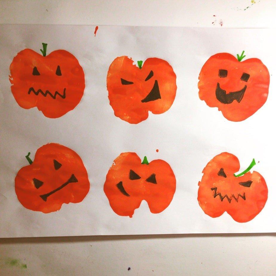 Kid's Craft – Apple Stamp Jack O' Lanterns