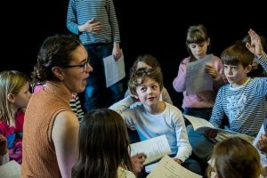 Silly Fish founder, Rebecca reviewing lines and cues with the Prague Youth Theatre Juniors.