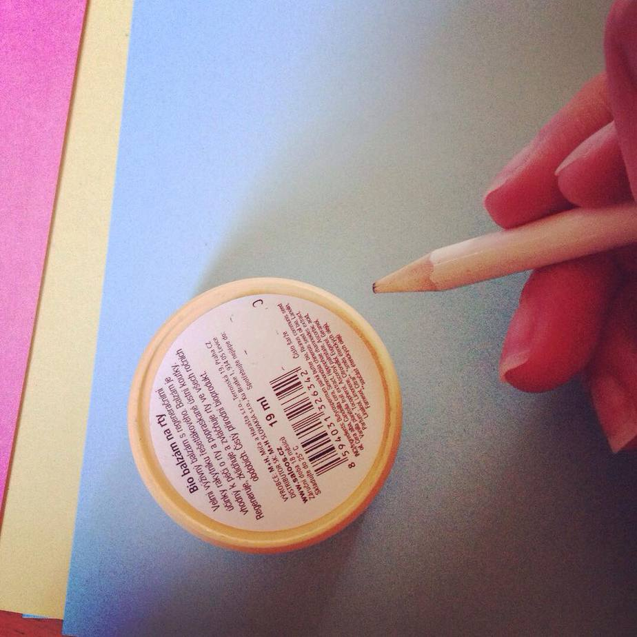 Use something small and round to draw a circle on your card. I used lip balm.
