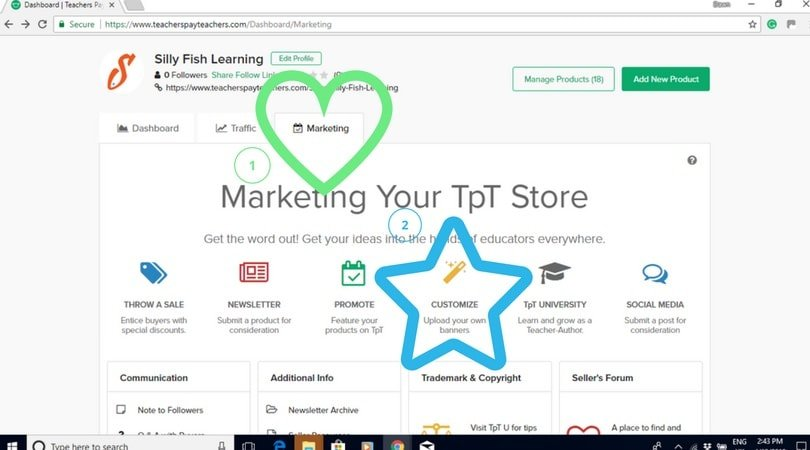 On the TpT dashboard, go to the marketing tab and customize.