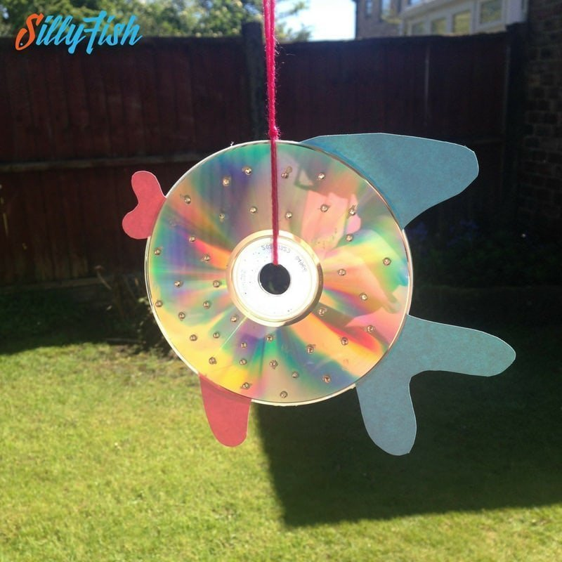 Kid's Craft | Rainbow CD Fish Suncatcher