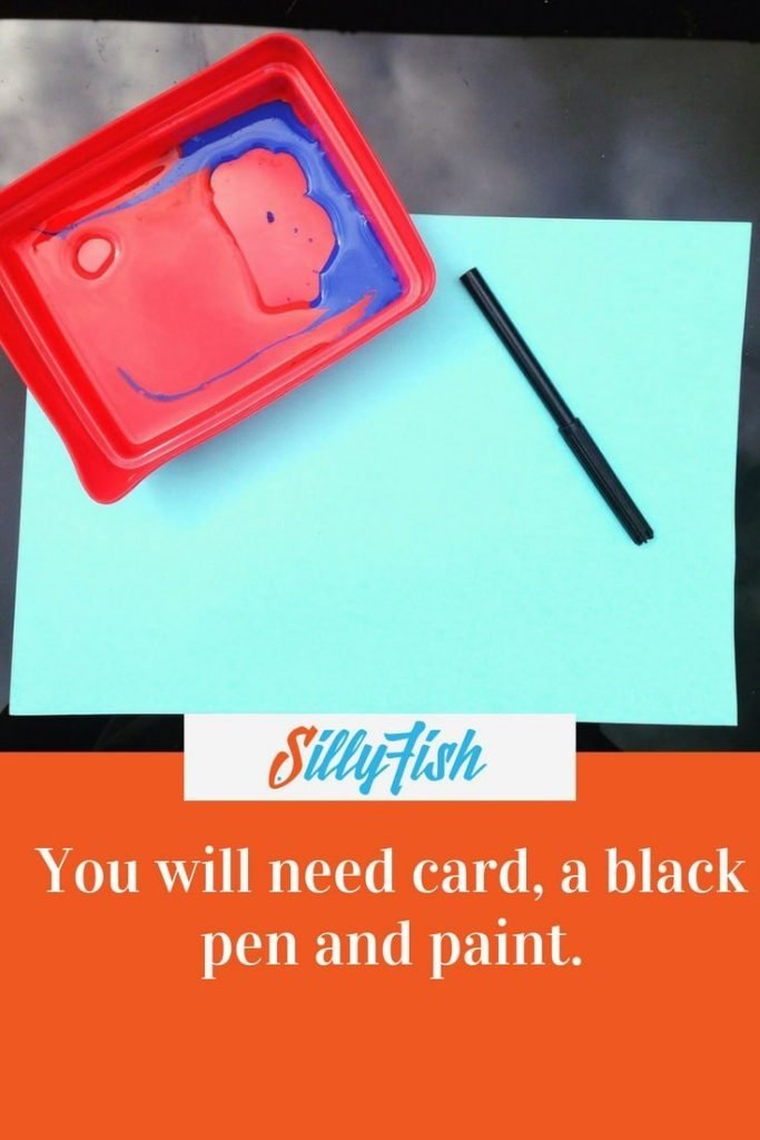 You will need card, a black pen and paint.