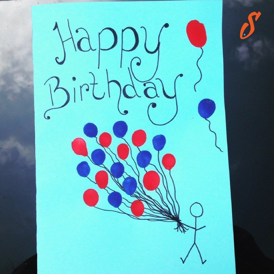 Kid's Craft | Birthday Balloons Card Using Finger Painting